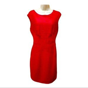 DR Collection Red Textured Fitted Sleeveless Dress